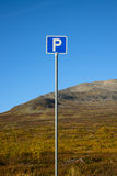 Blue and white traffic sign for parking Stock Photography