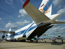 Blue and White Transport Plane royalty free stock photography