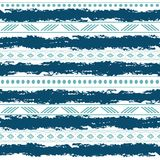 Blue and white tribal vector seamless pattern with doodle elements. Aztec abstract geometric art print. Ethnic Royalty Free Stock Images