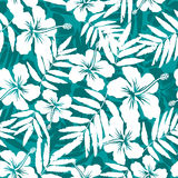Blue and white tropical flowers silhouettes Royalty Free Stock Photos