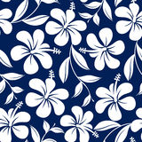 Blue and white tropical hibiscus flowers and leaves seamless pat Royalty Free Stock Photo