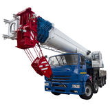 Blue and white truck crane Stock Photos