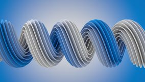 Blue white twisted spiral shape 3D rendering Royalty Free Stock Images