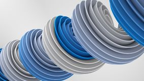 Blue white twisted spiral shape 3D rendering. Blue white twisted spiral shape. Computer designed abstract geometric 3D rendering Royalty Free Stock Image