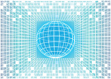 Blue and white vector matrix background with earth globe Royalty Free Stock Images