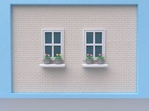 Blue white wall brick two windows and pink flower-pot cartoon style 3d render royalty free stock images
