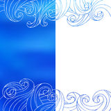 Blue white waves abstract background illustration Royalty Free Stock Photo