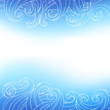 Blue white waves abstract background illustration Stock Photo