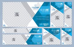 Blue and White Web banners templates, standard sizes with space for photo royalty free illustration