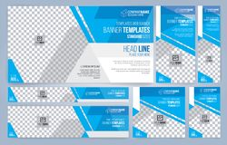 Blue and White Web banners templates, standard sizes with space for photo vector illustration