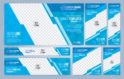 Blue and White Web banners templates, standard sizes with space for photo stock illustration