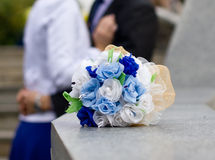 Blue and white wedding bouquet. Close-up Stock Photography