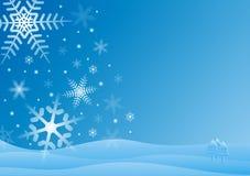Blue and white winter scene