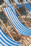 Colorful Blue Sunbeds in Gozo royalty free stock image