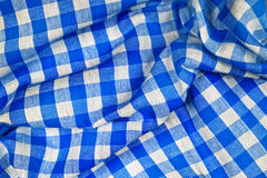 Blue and white wrinkled checkered Bavarian tablecloth Stock Photo