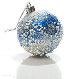 Blue and white Xmas ball with transparent drops on Royalty Free Stock Images