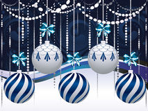 Blue and White Xmas Balls Stock Photo