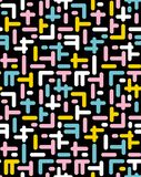Abstract Vector Seamless Pattern. Jumble Elements. Black background. Colorful Design. Retro Memphis Style. vector illustration