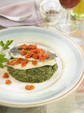 Blue whiting fillets with spinach and tomatoes Stock Photography