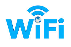 Blue WiFi symbol with Earth Globe Stock Images