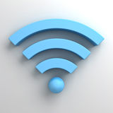 Blue wifi symbol or wireless sign on white Stock Images