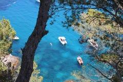 Blue wild creek spain. Blue wild creek tree ocean sea panorama holidays rocks cliff diving escapade  hiking spain Royalty Free Stock Image