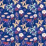 Blue wild flowers seamless pattern Stock Image