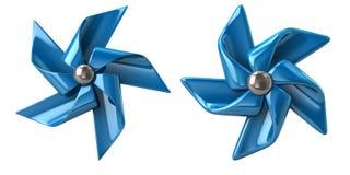 Blue windmills 3d illustration. Isolated on white background Stock Photo