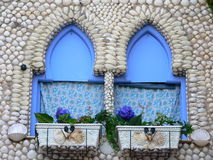 Blue window. Of the House of shells in Peniscola, Castellon (Spain Stock Image