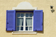 Blue window. Blue traditional greek window in Aegina, Greece Stock Photos