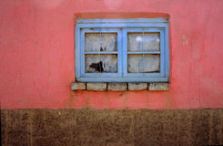 Blue window. On pink wall, small Bolivian village Stock Images