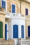 Blue Window and balcony on ancient wall Mediterranean, Malta.  Stock Images