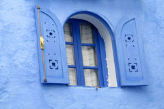 Blue window in blue city Chefchaouen Royalty Free Stock Photo