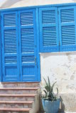 Blue window and blue door Royalty Free Stock Image