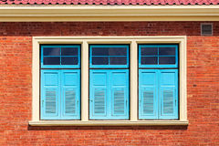 Blue Window on Brick Wall Royalty Free Stock Images