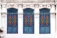 Blue window colonial style Royalty Free Stock Photo