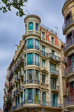 Blue window corner house in Barcelona, Spain Stock Photography
