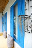 Blue window. They are blue window and design object in thai style resort.this place is in east of thailand Stock Photos