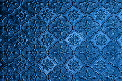 Blue window glass background in thai style house Stock Photo
