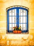 Blue Window in Gozo. Blue window in stone house Gozo Malta stock photography