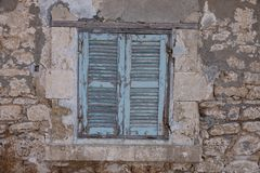 Blue window in Kato Pafos Archaeological Park Stock Image