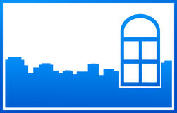 Blue window and city silhouette Royalty Free Stock Images