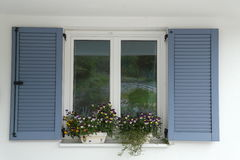 Blue window shutter Stock Photography