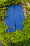 Blue window shutters Stock Photos
