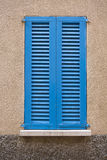 Blue window. Window typical of the island of Mallorca Royalty Free Stock Images