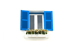 Blue window on a white wall Stock Image