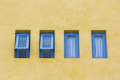 The blue windows on building background Stock Images