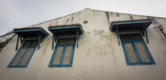 Blue windows at Chinatown in Penang, Malaysia Stock Photos