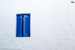 Blue windows details at Serifos island, Greece Royalty Free Stock Photos