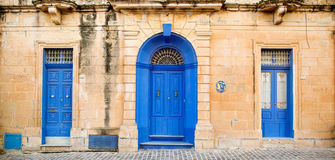 Blue Windows and doors. Old windowsand doors on Malta Stock Photography